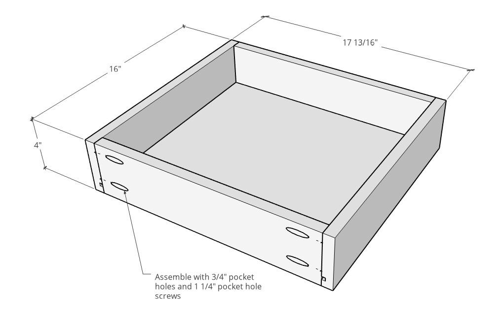 Assembled diagram of drawer box