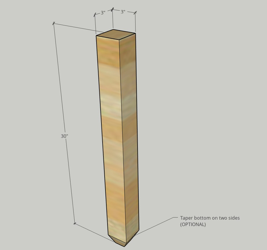 """Diagram of leg posts used for desk legs--showign 3"""" x 3"""" overall dimension and tapered end"""