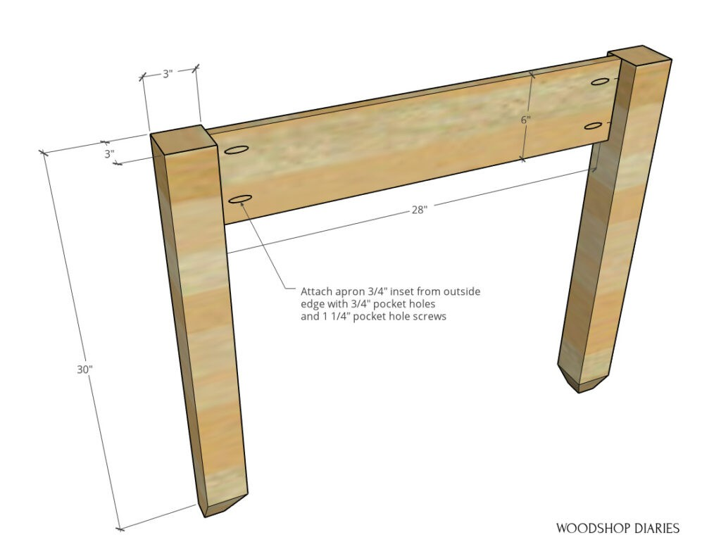 """Diagram of side panel assembly with 6"""" wide apron attached between 30"""" long legs"""