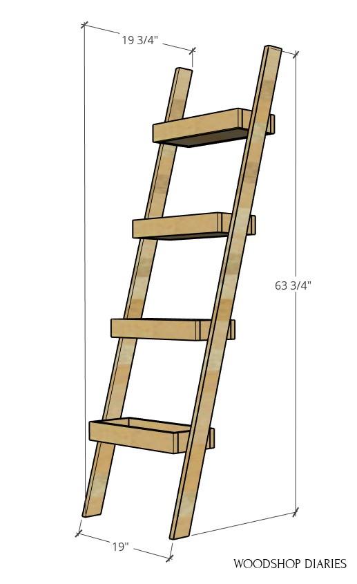 """Overall dimension diagram of plant ladder shelf--63 ¾"""" tall, 19 ¾"""" deep, 19"""" wide"""