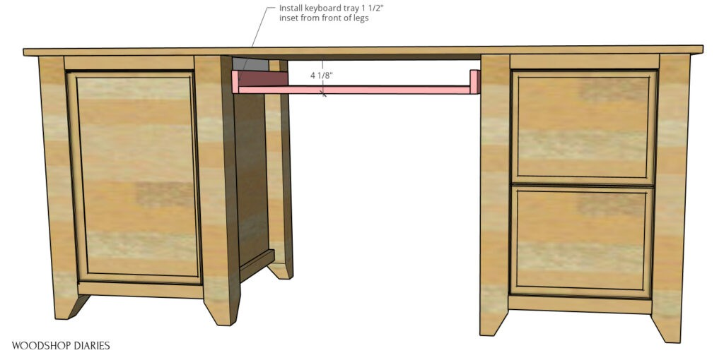 pull out computer desk keyboard tray installed onto middle drawer slides