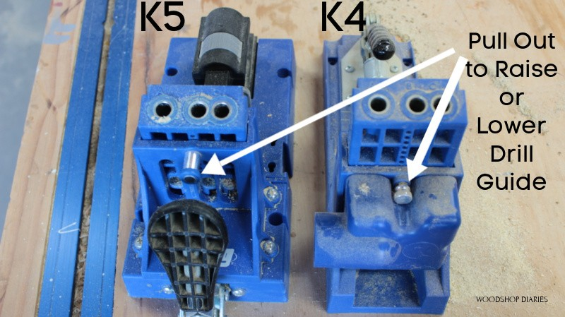 K4 and K5 jigs with arrows pointing to the pins to adjust drill guides