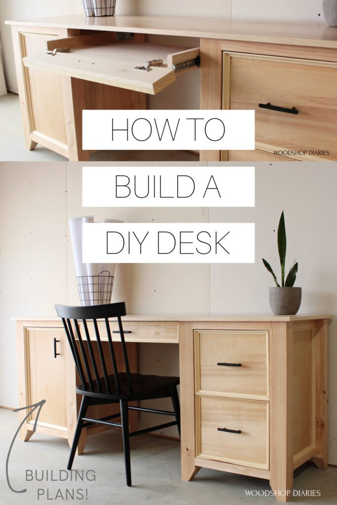 "Pinterest collage with keyboard tray open at top and finished DIY computer desk on bottom with text ""how to build a DIY desk"""
