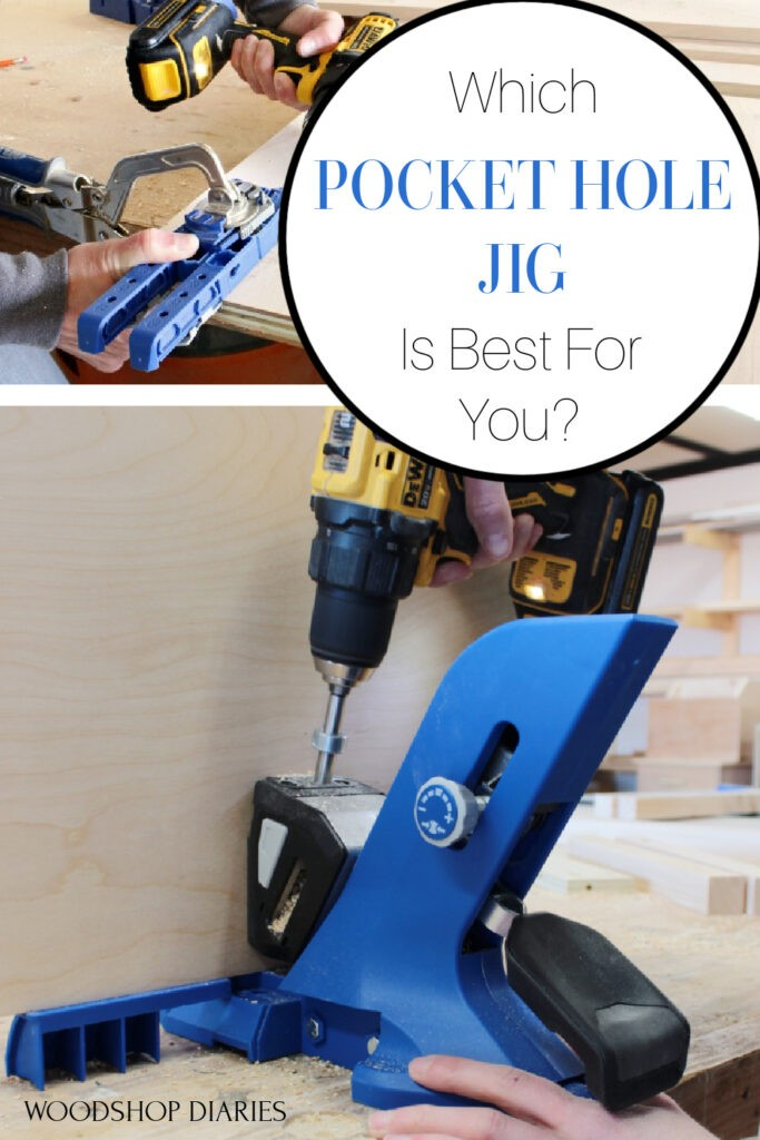 """Pinterest collage image showing the Kreg 320 pocket hole jig at the top and the Kreg 720 pocket hole jig at the bottom with text """"which pocket hole jig is best for you?"""""""
