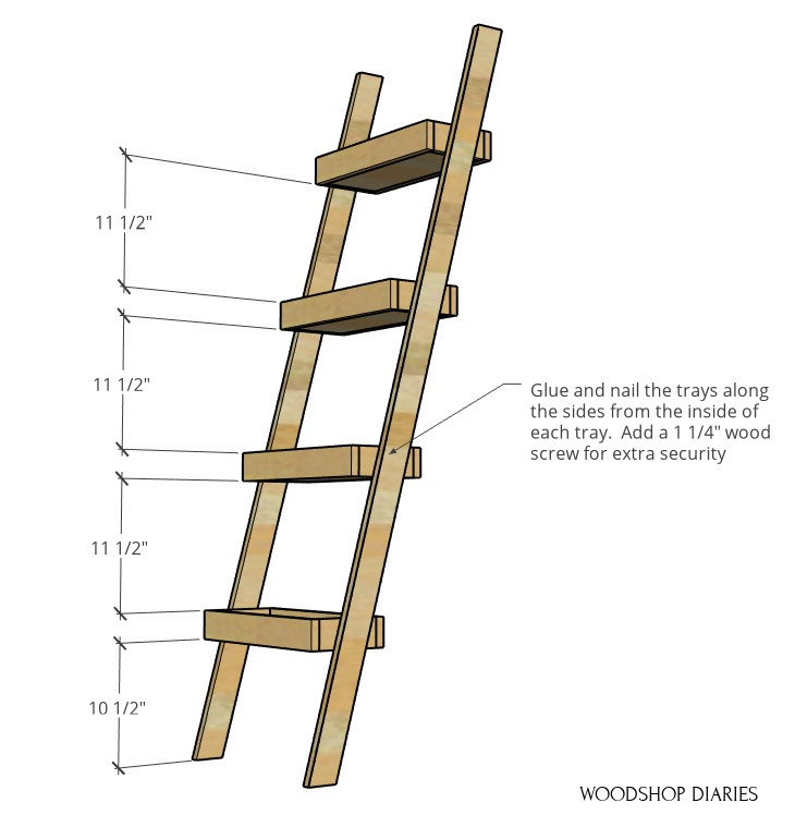 """Dimensional diagram of plant ladder shelf--trays spaced 11 ½"""" apart starting 10 ½"""" from bottom"""