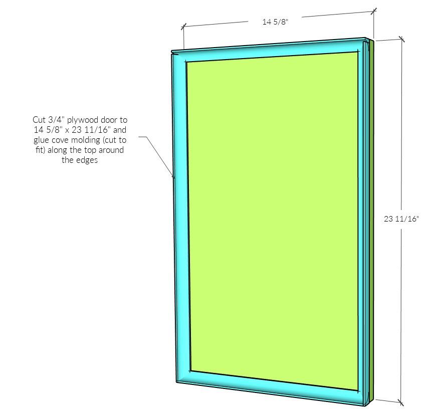 Left side computer desk door overall dimension diagram