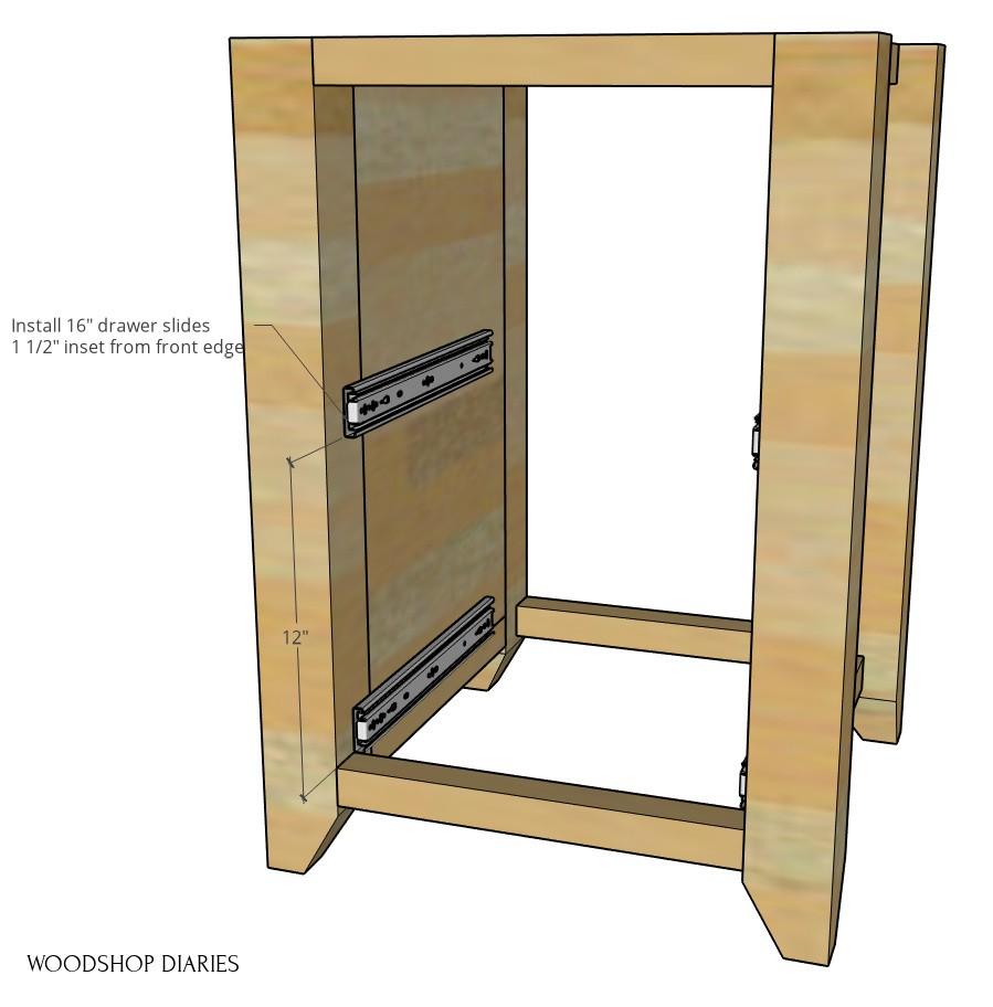 Drawer slides installed into desk cabinet