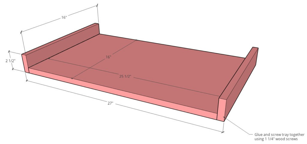 Keyboard tray overall dimensions