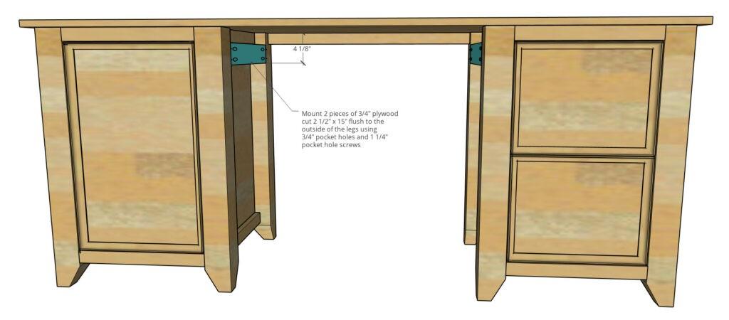 Scrap blocks installed into desk to mount middle drawer slides onto