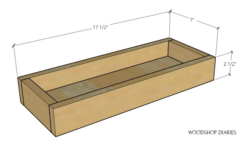 """Assembled plant ladder shelf tray overall dimension diagram--17 ½"""" wide, 7"""" deep, 2 ½"""" tall"""