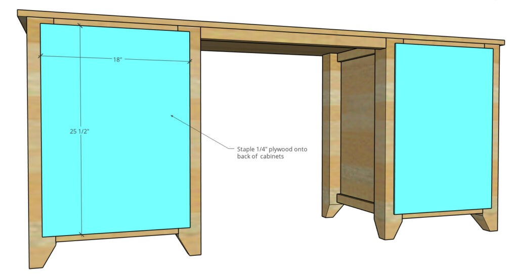 graphic showing the back side of the computer desk and dimensions of back panels