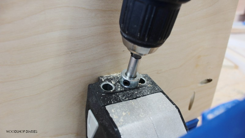 Close up of stop collar touching drill guide on pocket hole jig