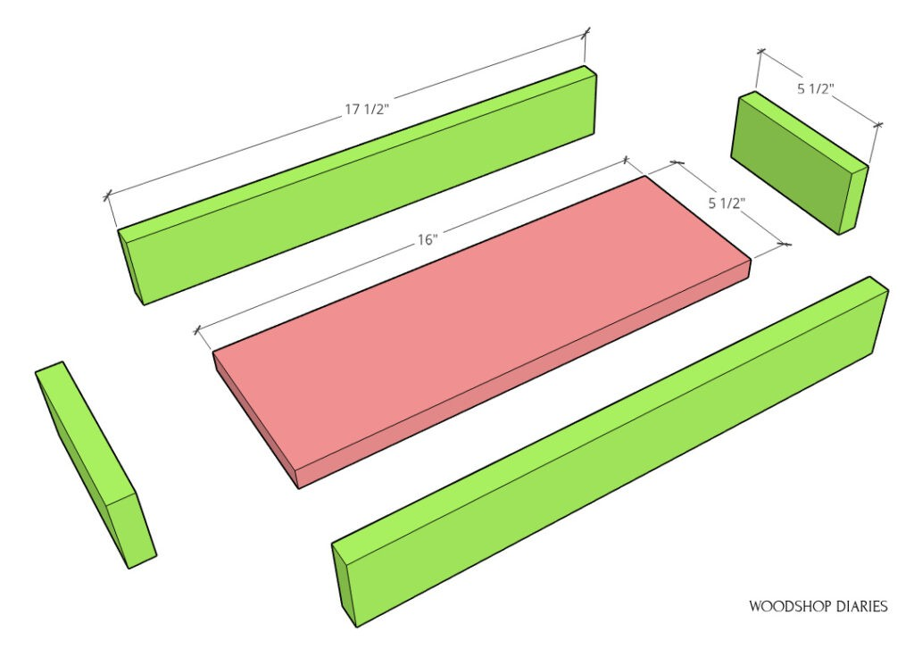 Exploded color coded diagram of shelf trays--bottom board pink, sides green