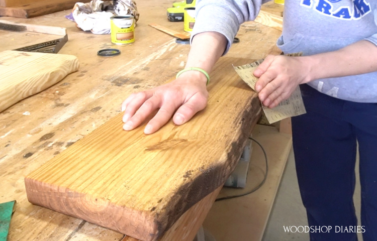 sand board edges to blend various stain colors