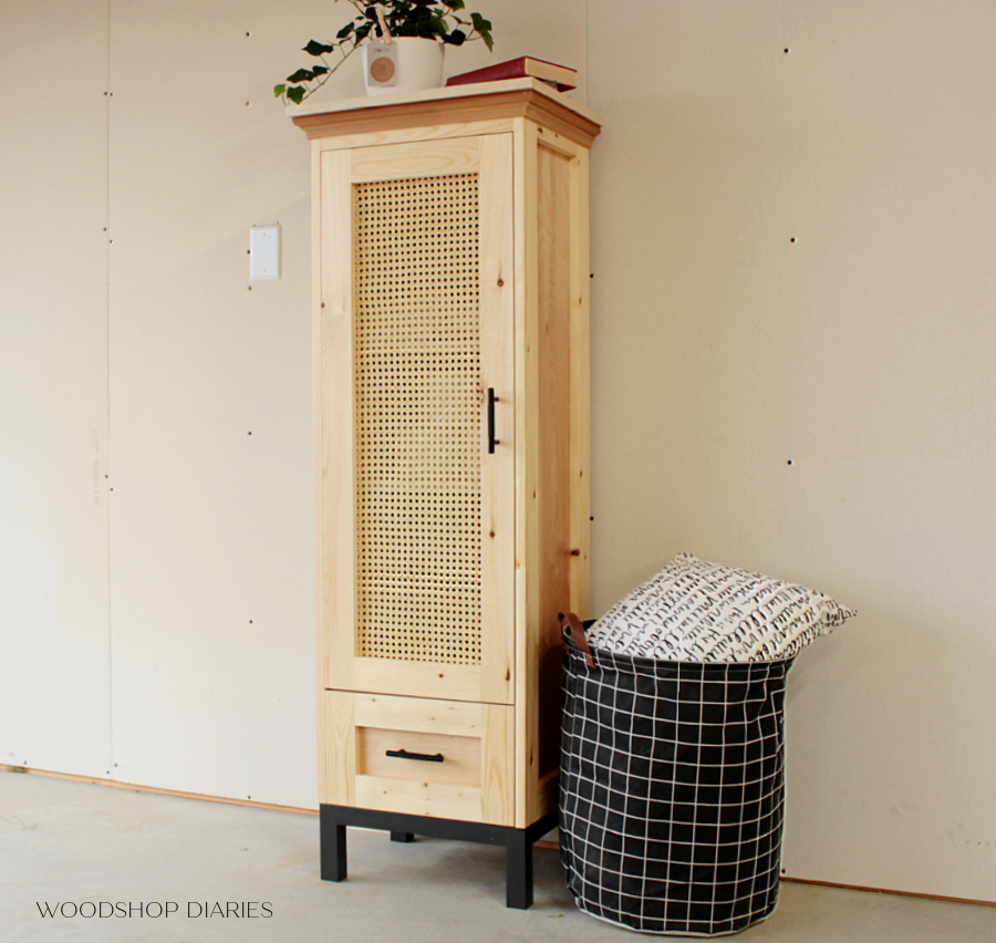 DIY cane door cabinet natural color with black painted base