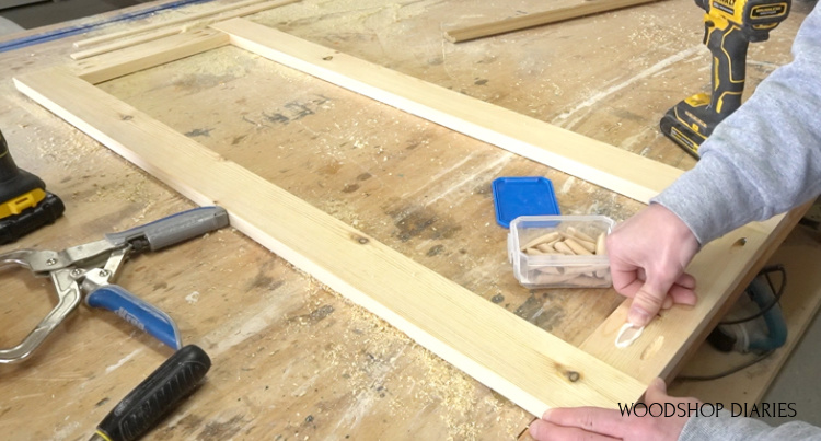 Using pocket hole plugs to fill pocket holes on back side of door frame