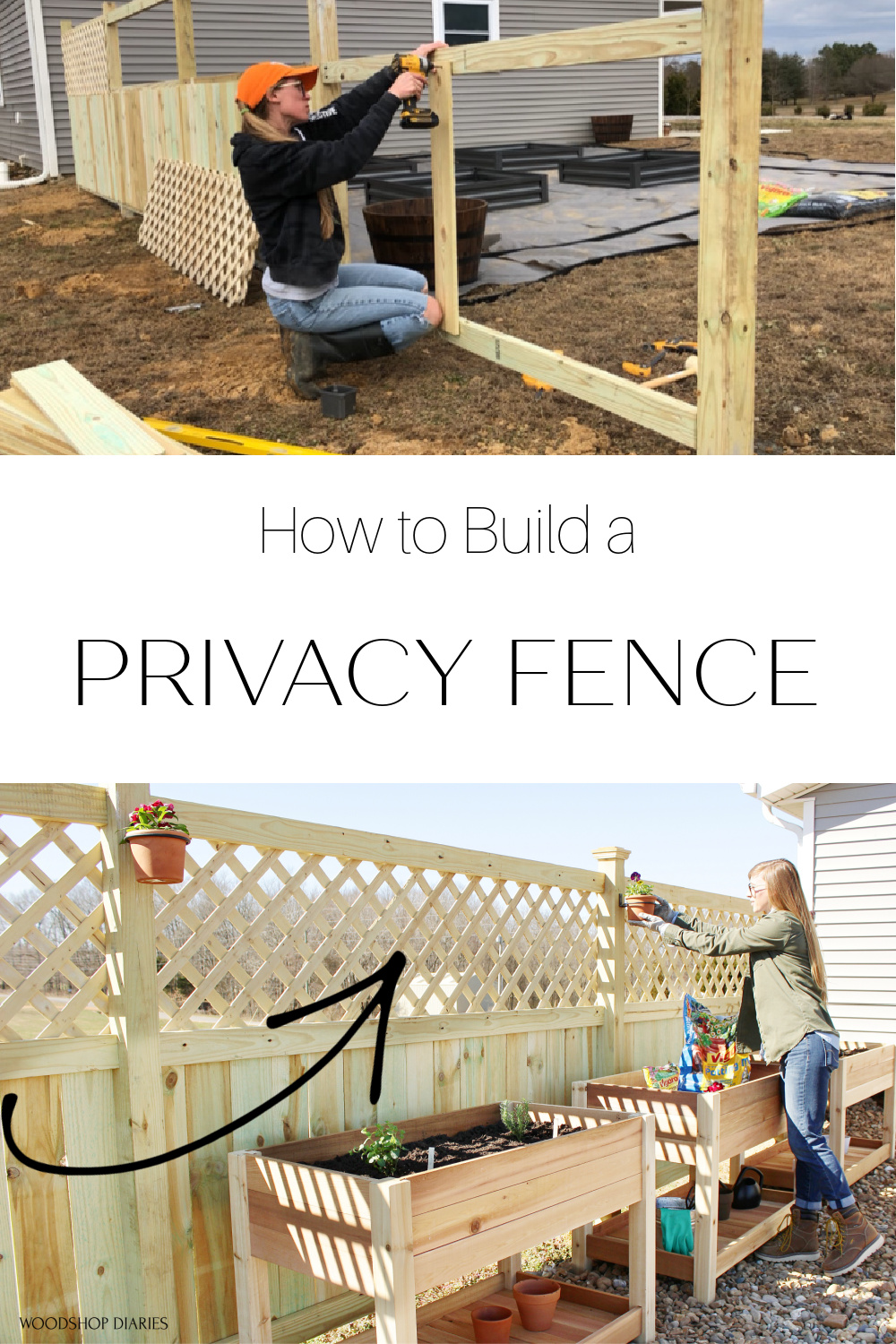 Pinterest collage building a privacy fence in process and after