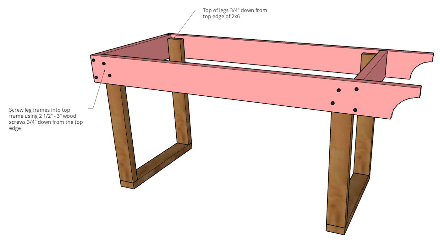 graphic showing top frame attached to leg assemblies of mobile grill cart BBQ station