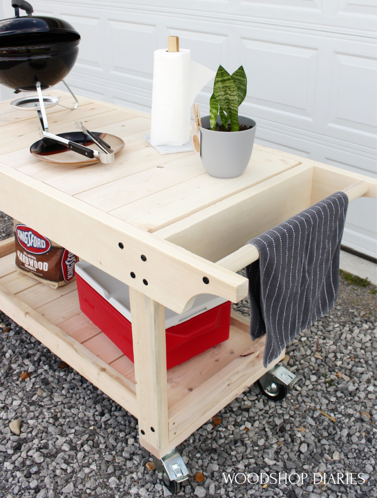 Mobile DIY grill station with cooler and portable grill--basic BBQ Prep table cart