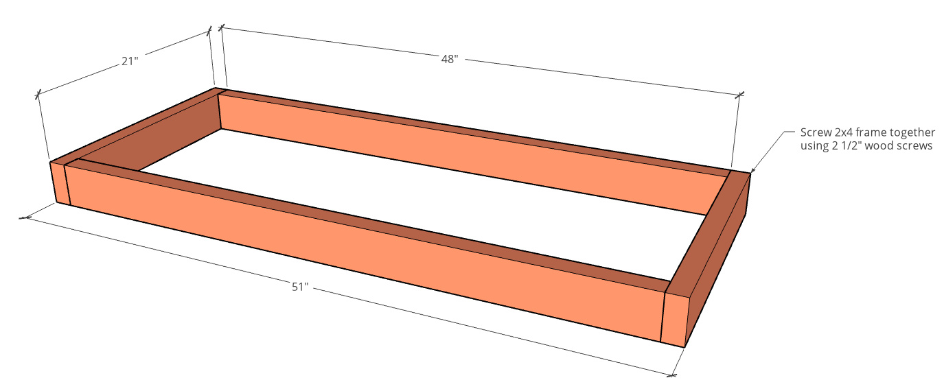 graphic showing bottom frame assembled for mobile bbq station