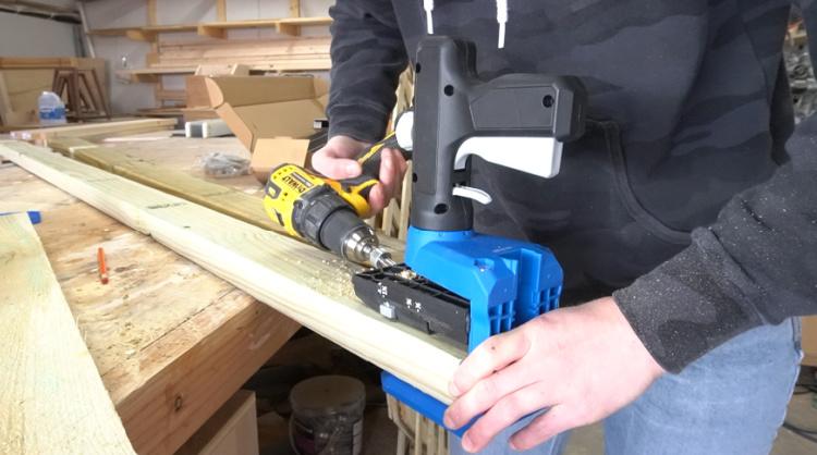 Drilling pocket holes in end of fence support slat