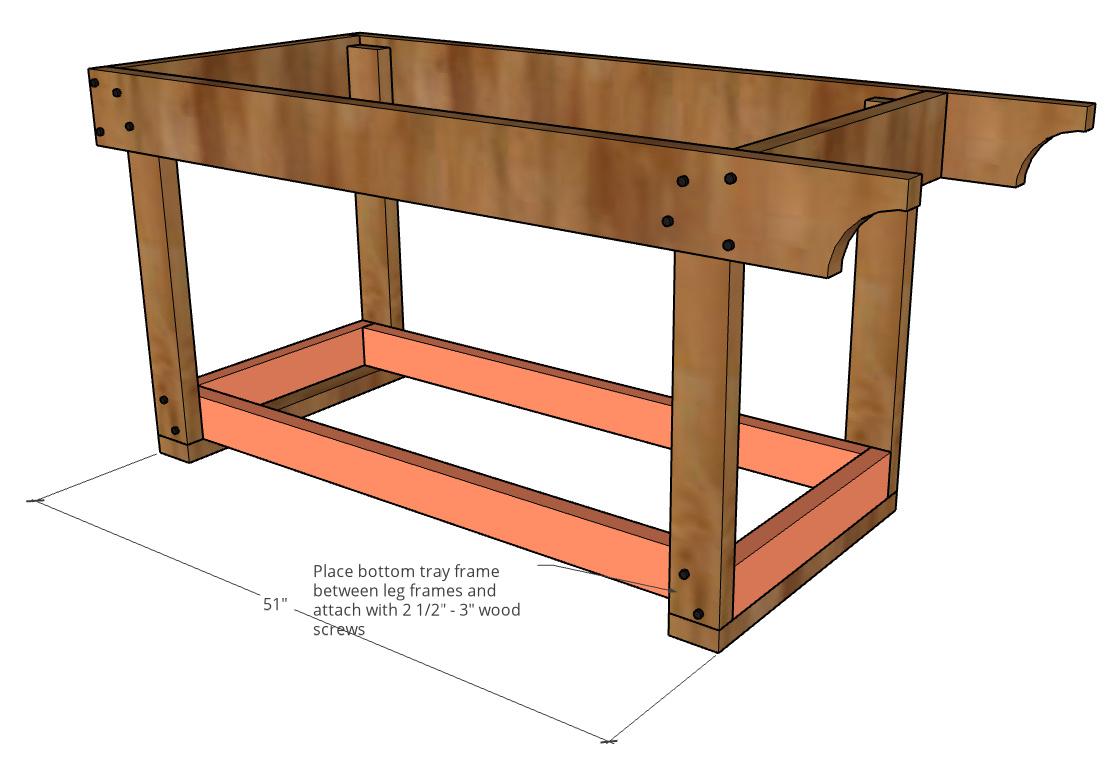 Bottom tray frame installed between leg assemblies