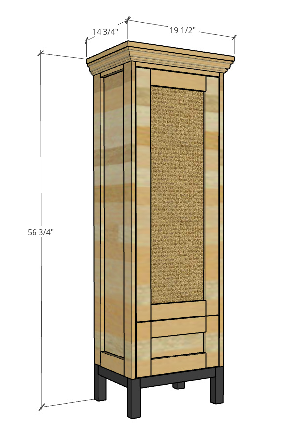 """Overall size of DIY tall pantry cabinet--19 ½"""" wide, 14 ¾"""" deep, 56 ¾"""" tall."""