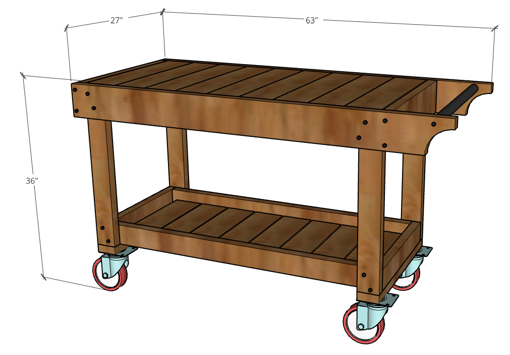 Overall dimensions of grill cart