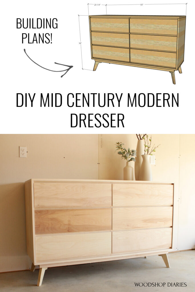 Pinterest collage diagram with overall dresser dimensions at top and finished dresser at bottom with text: DIY mid century modern dresser