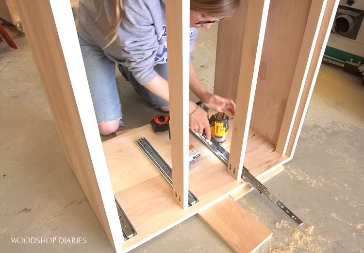 Shara Woodshop Diaries installing drawer slides into dresser cabinet