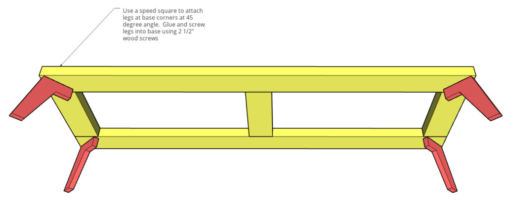 Diagram of legs attached to base frame for how to build a modern dresser project