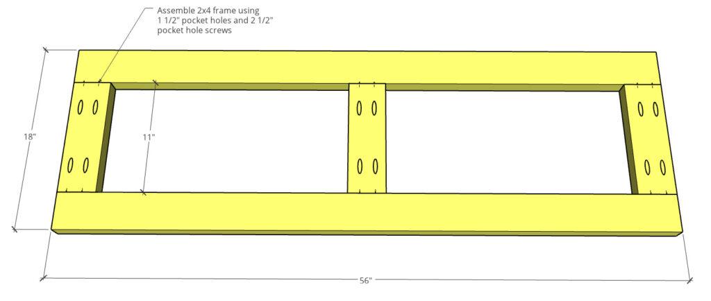 2x4 base frame assembled using pocket holes and screws to go on bottom of dresser box