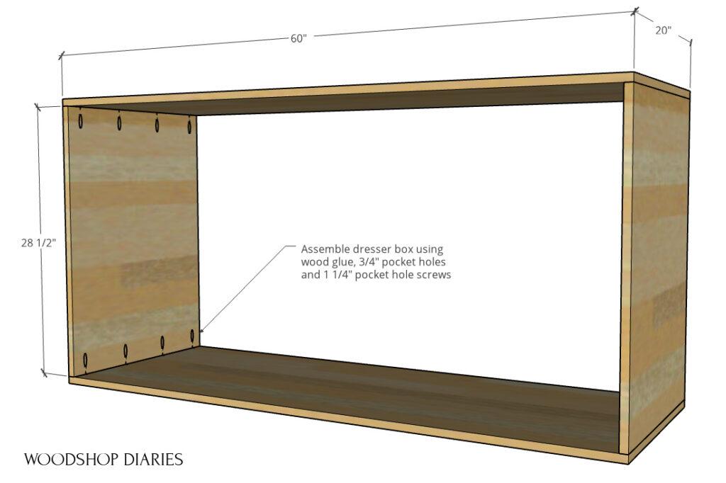 Main dresser body assembled with pocket hole screws digram