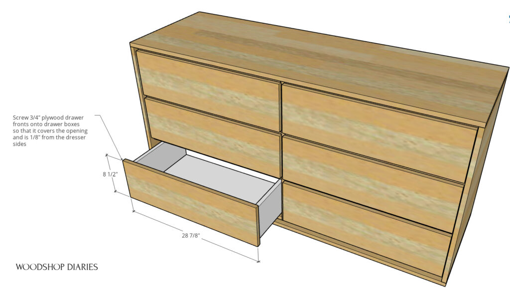 Diagram of drawer fronts installed onto dresser drawers with dimensions