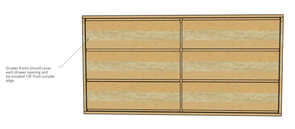 Front view of drawer fronts installed onto modern dresser build