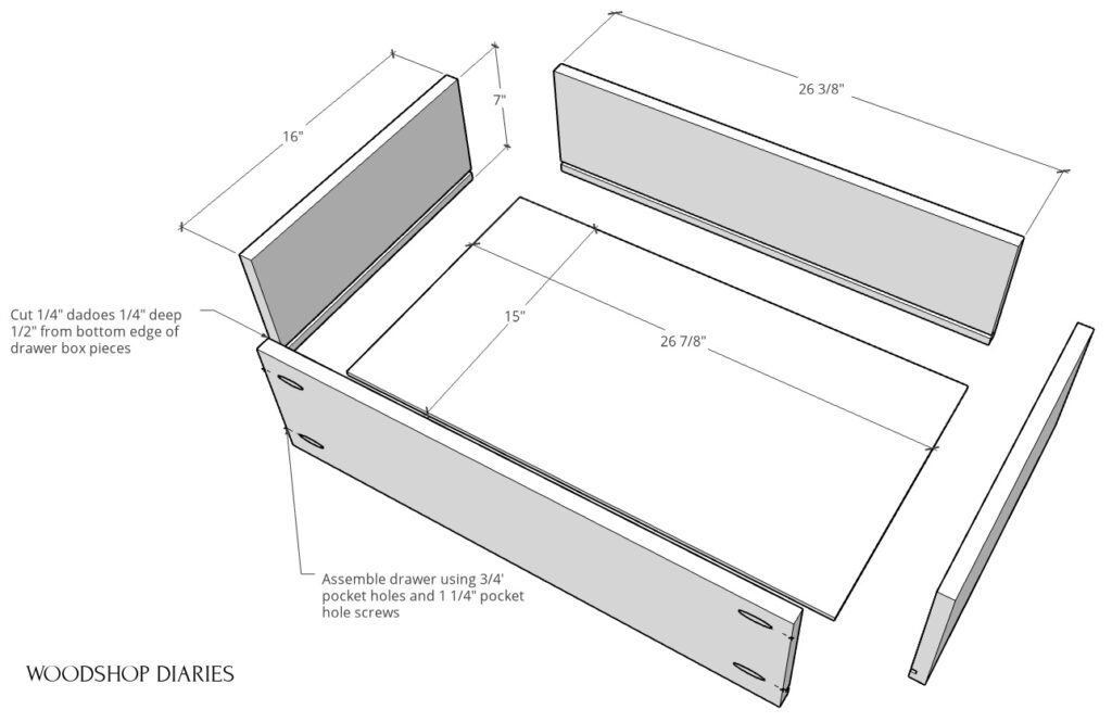 exploded view of drawer boxes for DIY modern dresser build