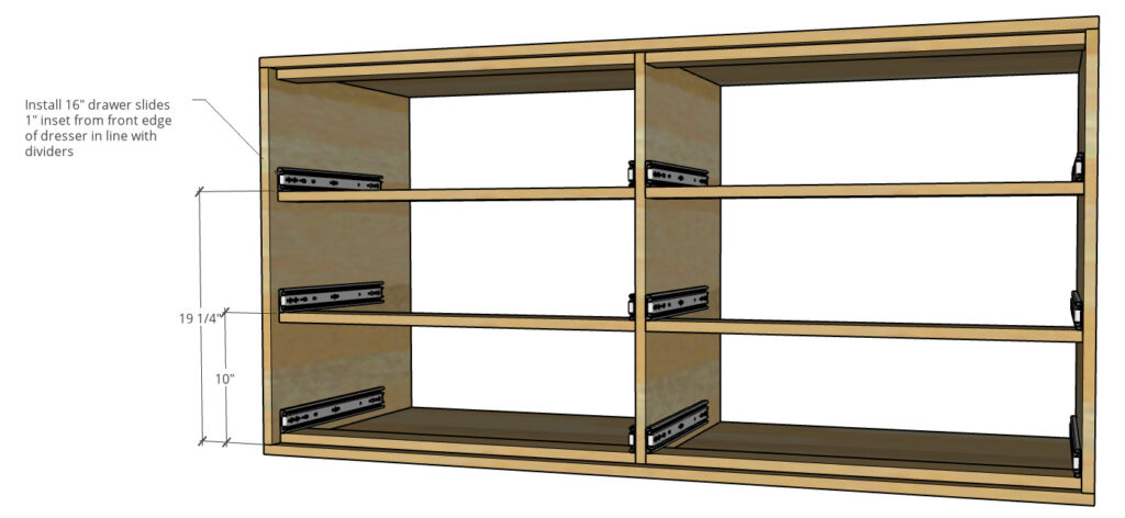 Diagram of how to build a modern dresser showing drawer slide placement