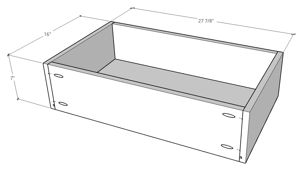 """Overall drawer box dimensions--7"""" tall, 16"""" deep and 27 ⅞"""" wide"""