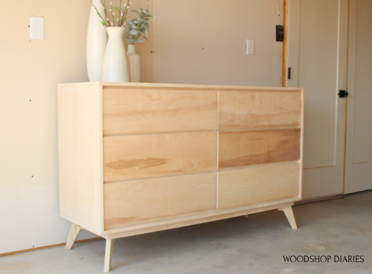 Completed plywood dresser built from these how to build a modern dresser plans