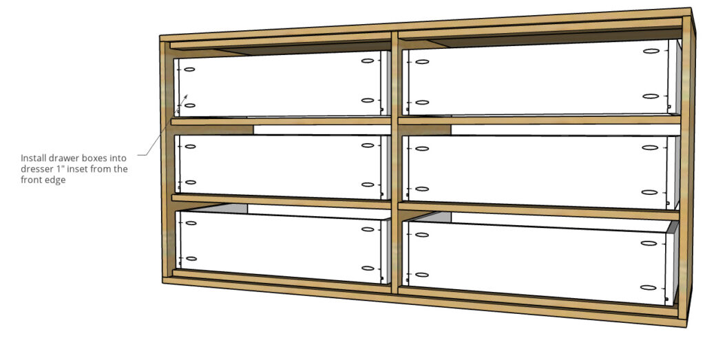 Diagram of drawer boxes installed into dresser frame