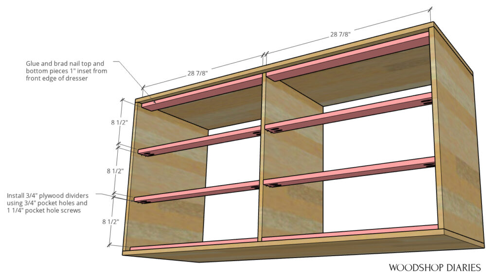 Drawer divider diagram showing where and how to add divider pieces into main dresser body