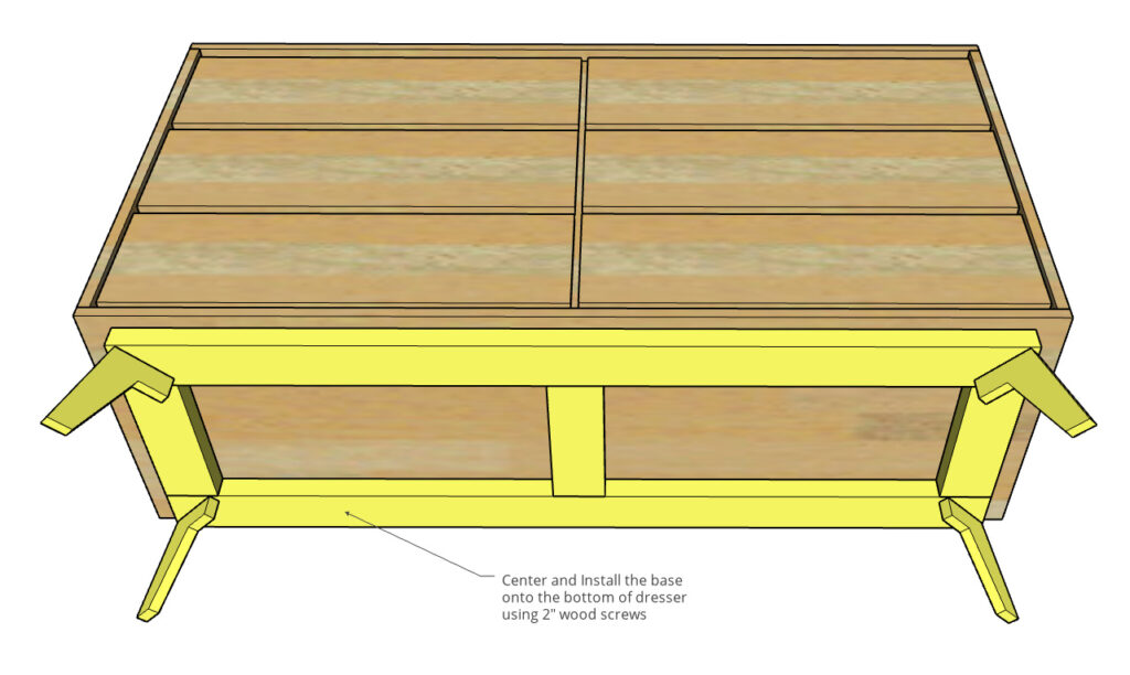 Diagram of base attached to bottom of mid century modern dresser box