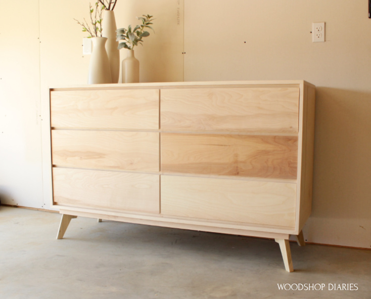 DIY plywood mid century modern dresser with 6 drawers and modern legs