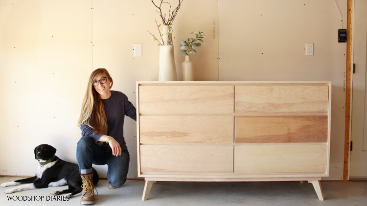 Shara and Lucy with 6 drawer DIY modern dresser build