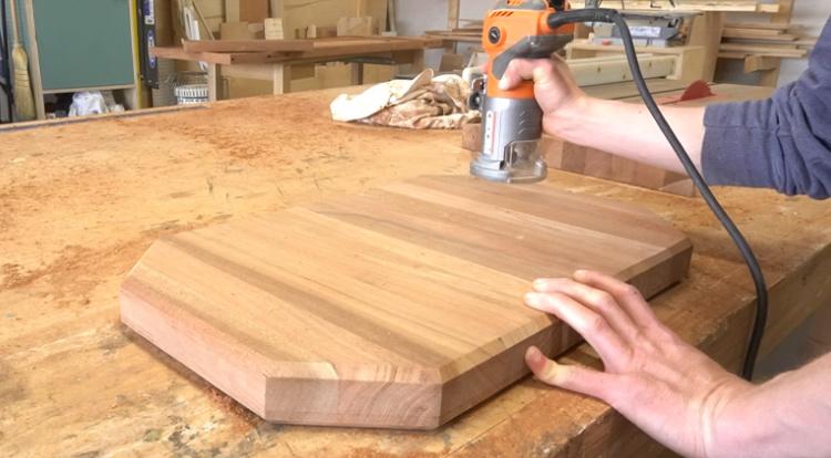 Routing a chamfer edge along cutting board corners