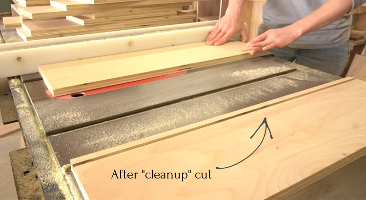 Shara Woodshop Diaries completing the dado cut on table saw