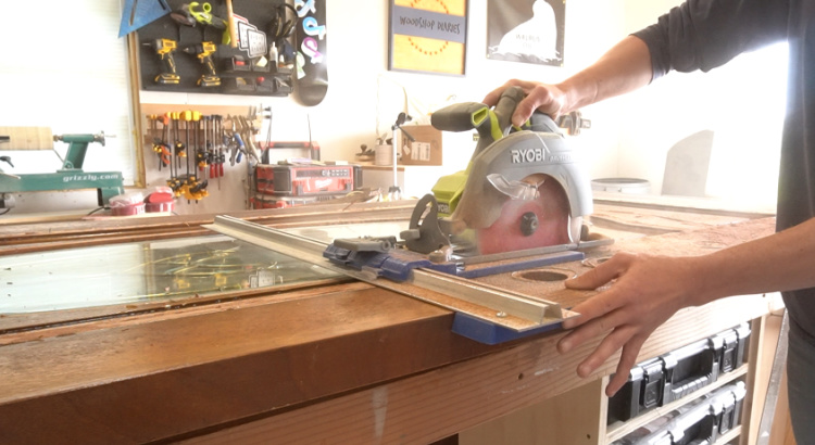 Using Circular saw to cut off one side of door