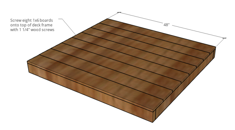 Diagram showing decking boards attached to frame for DIY pet house