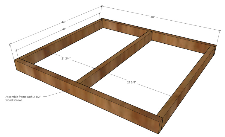 DIY outdoor pet house deck frame assembly diagram