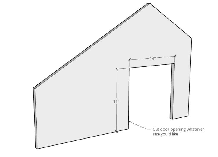 Door cut out diagram to DIY outdoor pet house front panel